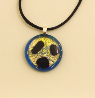 Blue and Gold Glass Pendant
