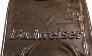 Fused Budweiser Bottle with Embossed Lettering